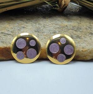 Vtg 80's Purple Enamel Earrings